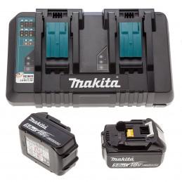 Makita 2 x 5Ah Akkus (BL1850) und Doppel-Ladegerät DC18RD