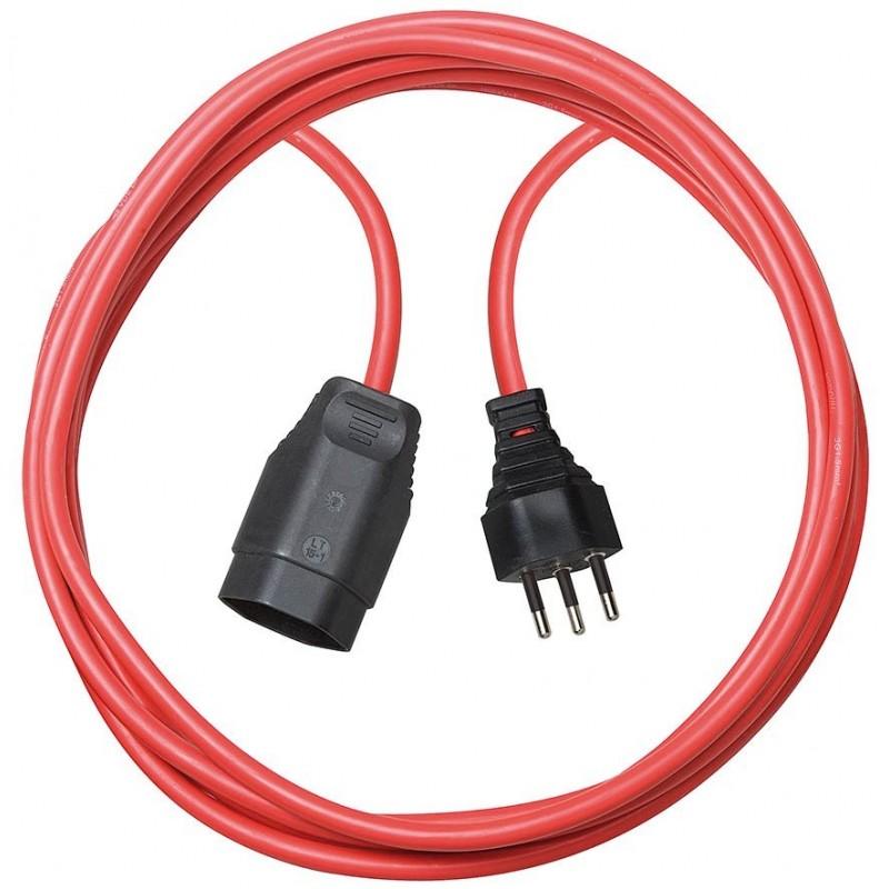 Qualitäts-Kunststoff-Verlängerungskabel 5m rot H05VV-F 3G1,5 *CH*