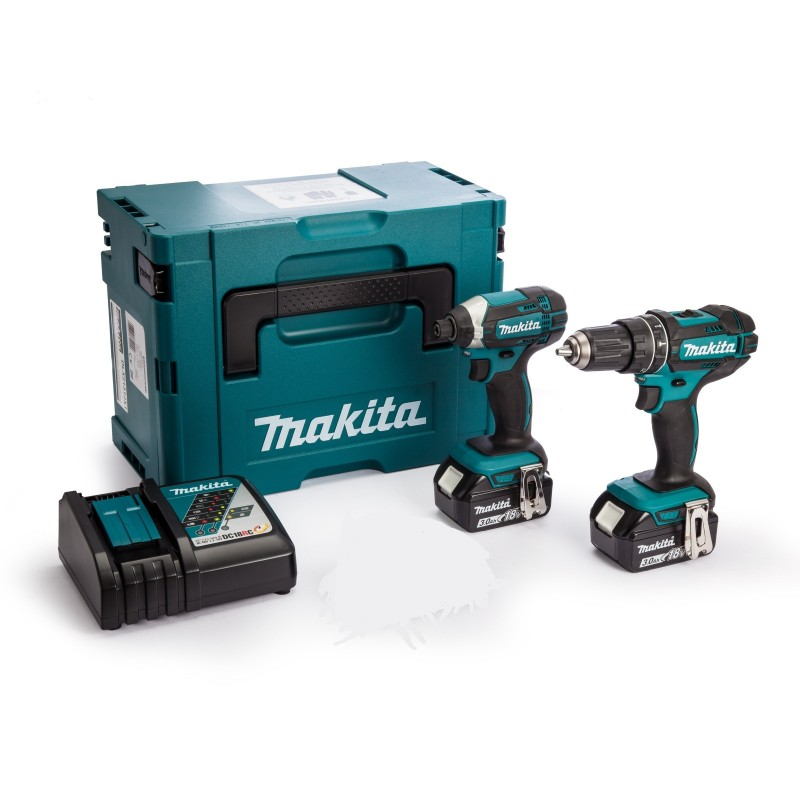 Makita 2-teiliges 18V Akku-Set (DHP482/DTD152, 2 x 3Ah)