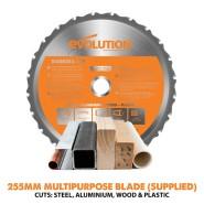 Evolution RAGE3 255mm Mehrzweck-Gehrungssäge TCT 255mm
